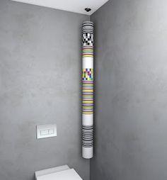 porte-rouleaux suspendu de papier toilette : le Roll'up de Point WC. Le principe est simple : il suffi de fixer le fil au plafond et de bloquer les rouleaux avec une pièce en plastique