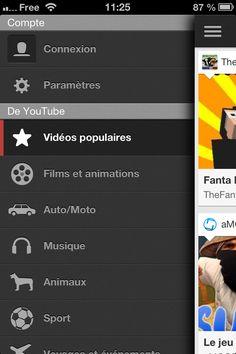 YOUTUBE : EXPLORER UNE LISTE #2 : ON TAP sur l'icone liste, affiche une liste de sélections thématiques de vidéo à explorer   --> plusieurs niveaux d'exploration