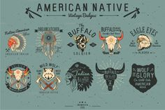 Native American Vintage Badges by inumocca on Creative Market