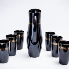 Zestaw szklanki i dzban do wina Pruszków, stan kolekcjonerski, sygnowany | A set of wine glasses and jug, Pruszków, collector state, signed | buy only on Patyna.pl #wineset #Pruszków #jug #glass #black #gold #PRL #Polish #design #inspiration #party #Polska #retro #vintage #vintagefinds #forsale #collector #classic