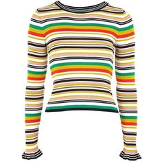 Topshop Hyper Stripe Knitted Crop Jumper (£26) ❤ liked on Polyvore featuring tops, sweaters, crop top, jumper, topshop, multi, long tops, long jumper, white cropped sweater and topshop sweater