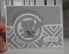 Stampin' Up!- I love my little kitty made with 'Foxy Friends' & the coordinating Fox Builder punch! This is a fun fold card!