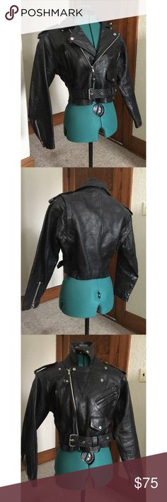 """Leather motorcycle biker jacket - sturdy!  M/L Originally bought this to replace a beloved jacket of mine that finally died but the original seller mismeasured like nobody's business and it's much too big for me.    I'm 36"""" bust and 26"""" waist and this is comically oversised (well, not TOO bad, but I prefer my jackets pretty fitted.  I'm short, so it just looks a bit off)   The jacket measures:   40"""" bust max, probably best for a 38"""" or so  36"""" waist, belt allows to cinch tighter  19"""" length…"""