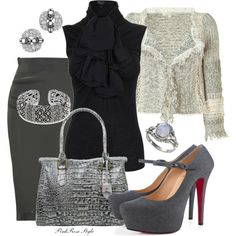 """Shades of gray"" by pink-rose-style on Polyvore"
