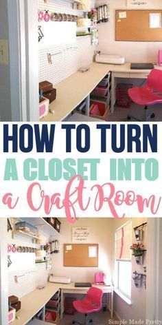 Have a closet that you're not using but need space for craft supplies? I've got the perfect solution! Turn a closet into a craft room! It is super easy and won't cost much to finally get your craft supplies organized and have a dedicated craft room! Basement Craft Rooms, Craft Room Closet, Make A Closet, Small Craft Rooms, Craft Room Decor, Craft Room Storage, Craft Organization, Diy Home Decor, Closet Space