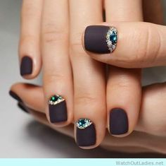 Nail Design For Short Nails Black Matte with jewels