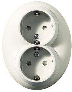 Eluttag Eljo Renova. Vägguttag i äldre design från Schneider Electric.