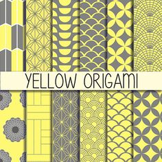 Yellow Origami - Japanese patterns - Instant Download - Yellow&Grey - Set of 12 Digital Paper  - 12x12 inches - Scrapbook Paper