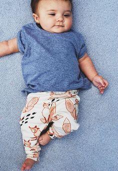 Handmade Organic Cotton Fox Print Baby Leggings | LolaandStella on Etsy