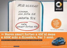 smart, offre tre anni di finanziamento Balloon con un anticipo di 2.950 euro, a cui seguono mini rate mensili da 41 euro per fortwo e 77 euro per forfour e sole tre rate da 400 euro ogni anno a Natale, proprio quando si riceve la tredicesima