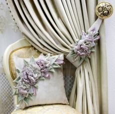 Elegant Curtains, Rustic Curtains, Diy Curtains, Cortinas Shabby Chic, Flower Curtain, Curtain Designs, Silk Ribbon Embroidery, Flower Tutorial, Flower Crafts