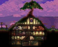 Terraria Hobbit hole house design inspired by LOTR - RandomOverload Terraria House Design, Terraria House Ideas, Terraria Tips, Minecraft House Designs, Glass House Design, Bamboo House Design, Small House Design, Modern House Design, Village House Design