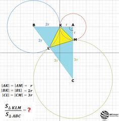 Dane są trzy okręgi o środkach A, B, C i promieniach równych odpowiednio r, 2r, 3r. Każde dwa z tych okręgów są zewnętrznie styczne: pierwszy z drugim w punkcie K, drugi z trzecim w punkcie L i pierwszy z trzecim w punkcie M. Oblicz stosunek pola trójkąta KLM do pola trójkąta ABC.  Three circles c(A, r), c(B, 2r), c(C, 3r) are externally tangent. Calculate the area of a triangle KLM (yellow) / the triangle ABC.