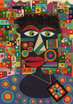 Colagem colorida do artista brasileiro Adriano Catenzaro.