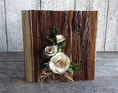 4 x 6 Photo Album, Wood wedding album, Souvenir photo album, Burlap album, Farmhouse Album, Rustic wedding album, Wedding present album