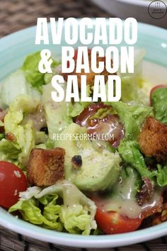 This simple bacon and avocado salad is a delicious meal as a full meal or a side dish for your BBQ. Bacon and avocado salad, chicken bacon avocado salad, bacon avocado salad, bacon avocado pasta salad, honey mustard chicken avocado bacon salad, bacon avocado egg salad, rosemary chicken bacon avocado salad, honey mustard chicken salad with bacon and avocado, salad recipes, summer recipes, BBQ salad recipe Fast Dinner Recipes, Healthy Recipes On A Budget, Healthy Eating Recipes, Vegetarian Recipes, Fast Recipes, Delicious Recipes, Keto Recipes, Main Dish Salads, Main Dishes