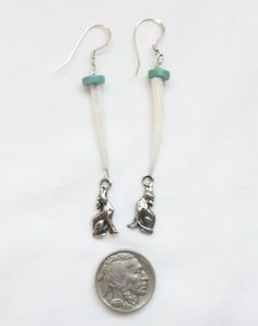 Native American Style Sterling Turquoise Dentalium Shell Wolf Coyote Earrings #Handmade #Wolf #Coyote #Turquoise #BOHO