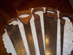 "5 Vintage Wood Handled Hand Saws - All Different - From 18"" to 24"" Long"