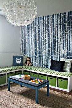 IKEA Expedit bookshelves turned into corner seating & storage. by Brownsugar6987
