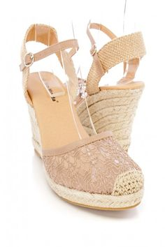 These adorable and stylish espadrille wedges are a must have this season! The features include an embroidered mesh scoop vamp with a closed toe, canvas fabric ankle strap with a side buckle closure, espadrille wedge, smooth lining, and cushioned footbed. Approximately 3 1/4 inch wedge heels.
