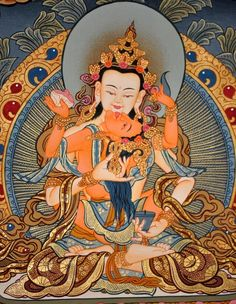 Vajrasattva with Consort Brocade Thangka Painting, Hand-Painted Thangka