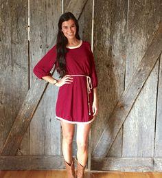 Burgundy Gameday Dress $38