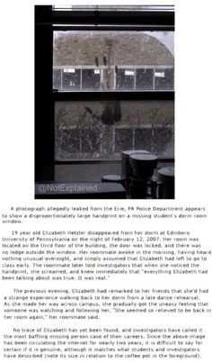 Elizabeth Hetzler disappeared from her dorm at Edinboro university of pensylvania.....