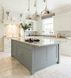 Dream kitchen with a mint green island please! Tom Howley's classic Hartford design (Beautiful Kitchens - January 2015 UK) Country Kitchen, New Kitchen, Kitchen Dining, Kitchen Ideas, Kitchen White, Awesome Kitchen, Kitchen With Tile Floor, Vintage Kitchen, Cheap Kitchen