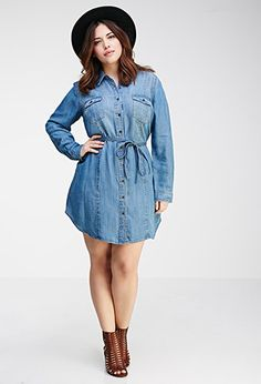 I can't wait for summer/spring  Button-Down Chambray Dress | FOREVER21 PLUS - 2000136231