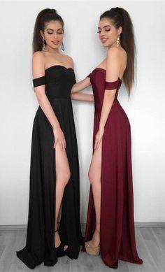 Charming Prom Dress, Sexy Black/Burgundy Long Prom Dresses,