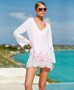 Kenneth Cole Reaction Long-Sleeve Laser-Cut Tunic Cover-Up @Macy's