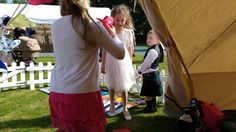 A busy Adventure Play Tent at a wedding in Tullibole Castle grounds.