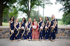 Ideas For Wedding Indian Bridesmaid Saree Indian Wedding Bridesmaids, Indian Bridesmaid Dresses, Navy Blue Bridesmaids, Bridesmaid Saree, Bridesmaid Outfit, Desi Wedding, Indian Wedding Outfits, Wedding Dresses, Indian Weddings