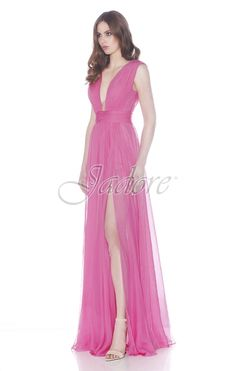 Jadore Style #J7100 Dramatic plunging neckline and skirt slit lend drama to this stunning chiffon gown.  A great look for a daring Bridesmaid, Prom, Maid Of Honor, Evening Gown, Pageant Dress, Red Carpet Dress, .  Over 20 colours to choose from and orderable in sizes 2-26.  View more styles from Jadore Evening.