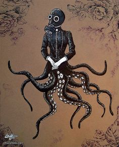 Stuffed octopus tenticles, great victorian jacket, and gas mask will make a great Halloween costume