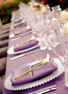 Image detail for -Purple wedding theme ideas_purple reception table setup decorations Purple Table Settings, Wedding Table Settings, Place Settings, Wedding Reception Decorations, Wedding Themes, Wedding Ideas, Reception Table, Wedding Dresses, Diy Wedding