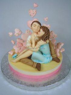 San Valentino in love - Cake by Angela Fondant Cake Toppers, Fondant Cakes, Cupcake Cakes, Elegant Wedding Cakes, Elegant Cakes, Food Work, Beautiful Cakes, Amazing Cakes, Aniversary Cakes