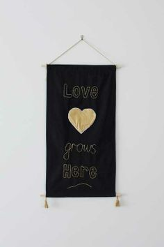 DIY Wall Banner with Gold Stitching. Easy craft project and is handmade with love. Wall hanging