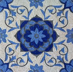 Beautiful Geometric Design - Marble Mosaic Tiles with Floral Patterns from Mozaico | Perfect to be hanged or inserted into your floors - Where would you install it ?