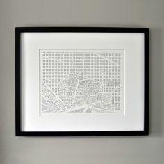 Minimalist Barcelona City Print by Karen O'Leary