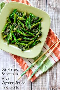Stir-Fried Broccolini with Oyster Sauce, so delicious and it's Low-Carb and Dairy-Free. [from KalynsKitchen.com]