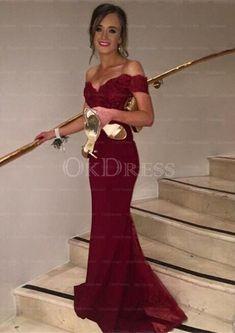 Irridescent Trumpet/Mermaid Sweep Train Short Sleeve Lace V-neck Prom Dresses - by OKDress UK V Neck Prom Dresses, Formal Dresses, Prom Party, Trumpet, Burgundy, Mermaid, Train, Sleeve, Lace