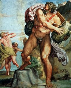 The Cyclops Polyphemus :: Annibale Carracci - nu art in mythology painting Art Du Temps, Annibale Carracci, Art Magique, Mythology Paintings, Renaissance Kunst, Giorgio Vasari, Joseph Mallord William Turner, Greek And Roman Mythology, Baroque Art