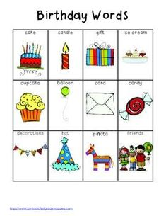 Many of these pics could be used as idea springboards for real objects to be books in a bag Writing Center Tools- Birthday Words English Lessons, English Words, Learn English, Prek Literacy, Kindergarten Writing, Literacy Stations, Ingles Kids, Writing Station, Writing Centers