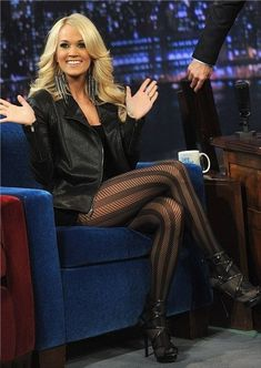 """Carrie Underwood Photos - Carrie Underwood visits """"Late Night With Jimmy Fallon"""" at Rockefeller Center on November 2012 in New York City. - Carrie Underwood Photos - 4020 of 7714 Carrie Underwood Legs, Carrie Underwood Photos, Tights And Heels, Black Tights, Striped Tights, Leather Tights, Leather Jacket, Patterned Leggings, Black Pantyhose"""
