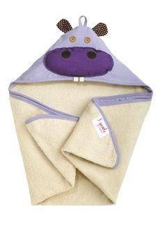 3 Sprouts Purple Hippo Hooded Towel
