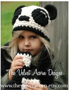 Crochet PATTERN-The Paige Panda Hat/Scarf by Thevelvetacorn
