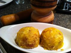 """Prepared """"Mofongo"""" for my husband!  Traditional Mofongo Recipe By Hector Rodriguez, About.com Guide Mofongo is customarily made from fried green (unripe) plantains mashed together with garlic and pork rinds/cracklings. This particular recipe is thought to originate from Puerto Rico and there are similar mashed plantain dishes from the other Spanish speaking islands. Cuba has fufu de plátano and The Dominican Republic has mangú."""
