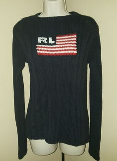 Ralph Lauren Women's Polo Sweater American Flag Thick Knit Polo Jeans Large L | eBay