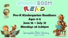 NEW SUMMER PROGRAM this year!  Mondays at 5:30pm help your child get ready for kindergarten!  Program begins June 16th!